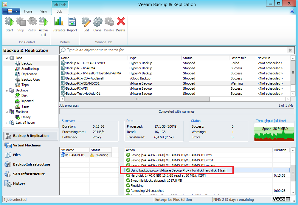 Configuring Direct SAN backups in Veeam B&R for VMware vSphere